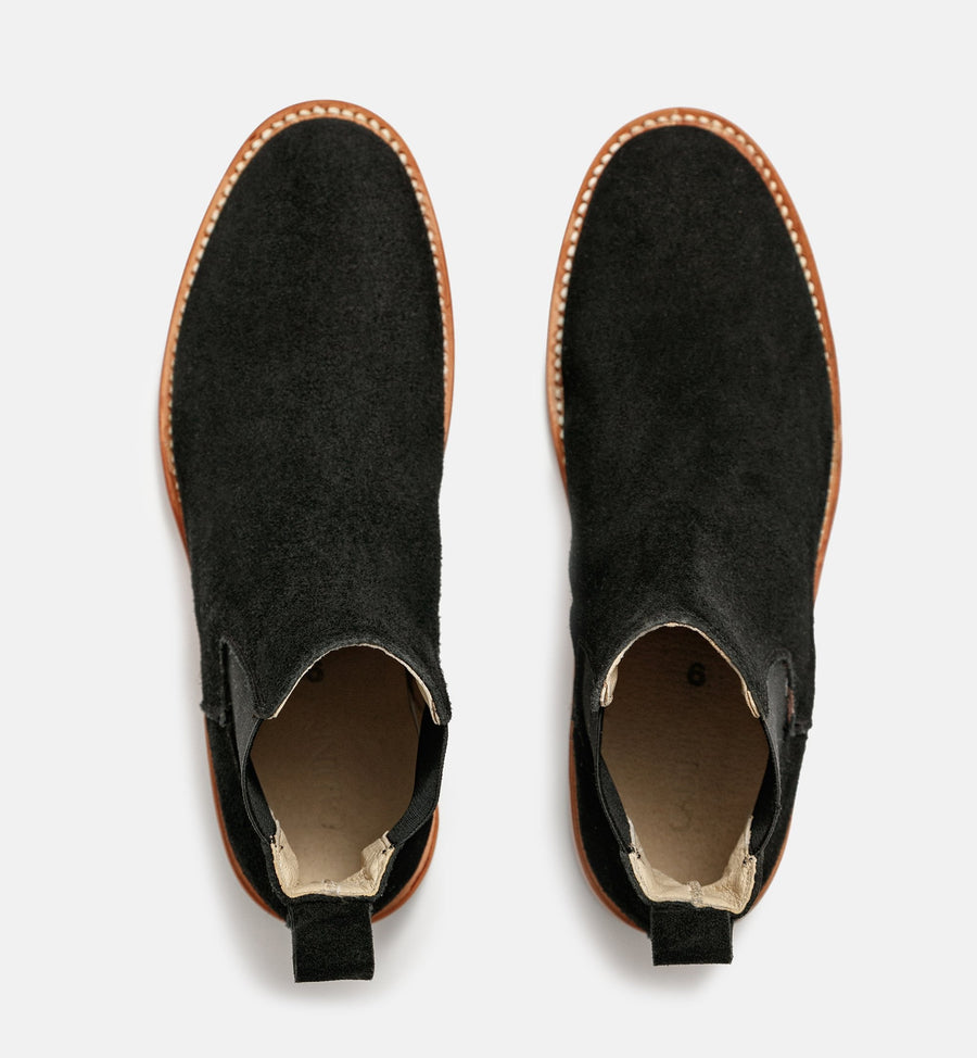 Cadine genuine black suede chelsea boots