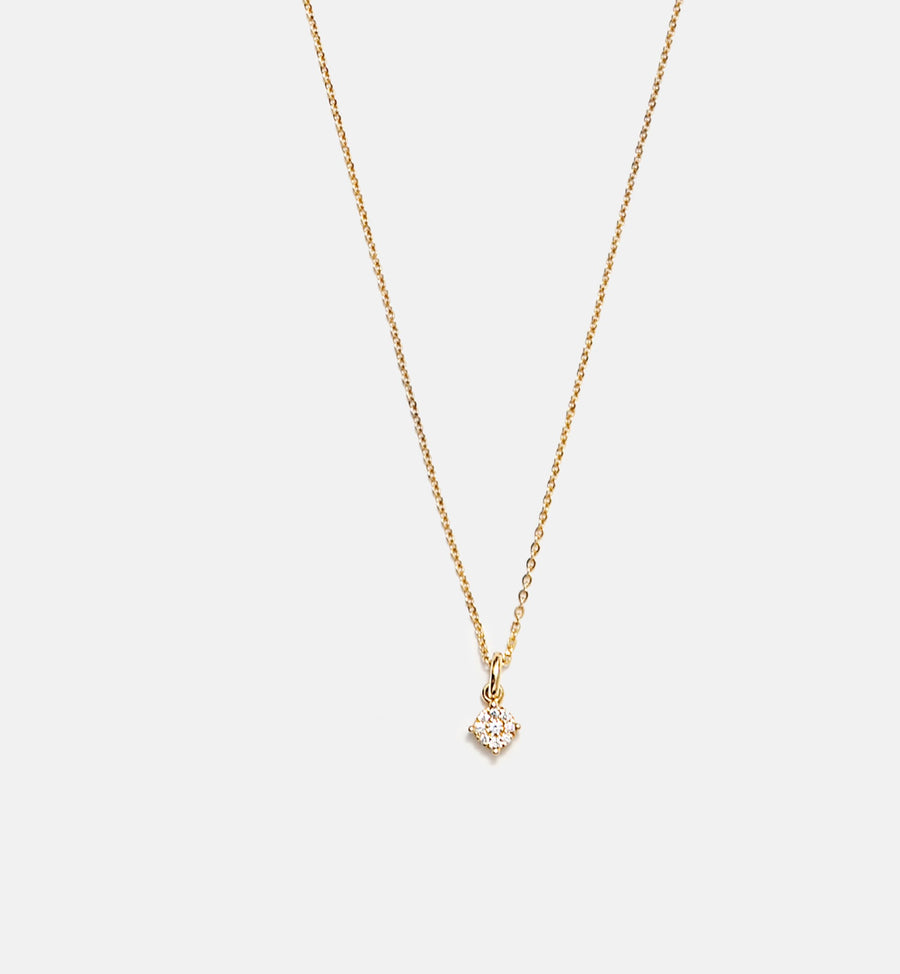 Cadine diamond cluster 14kt solid gold necklace