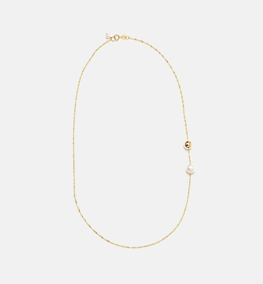 Cadine 14kt solid gold ball and genuine pearl necklace