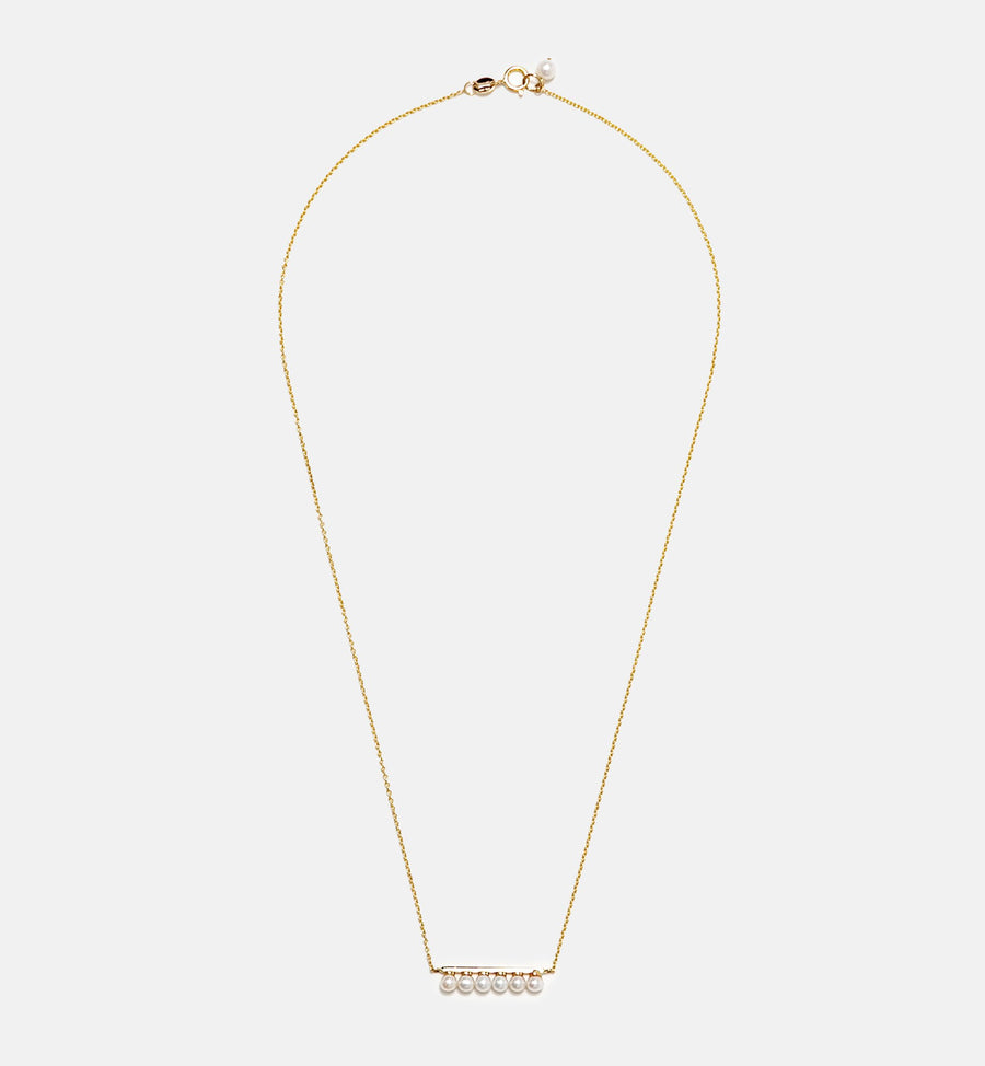 Cadine genuine pearl bar 14kt solid gold necklace