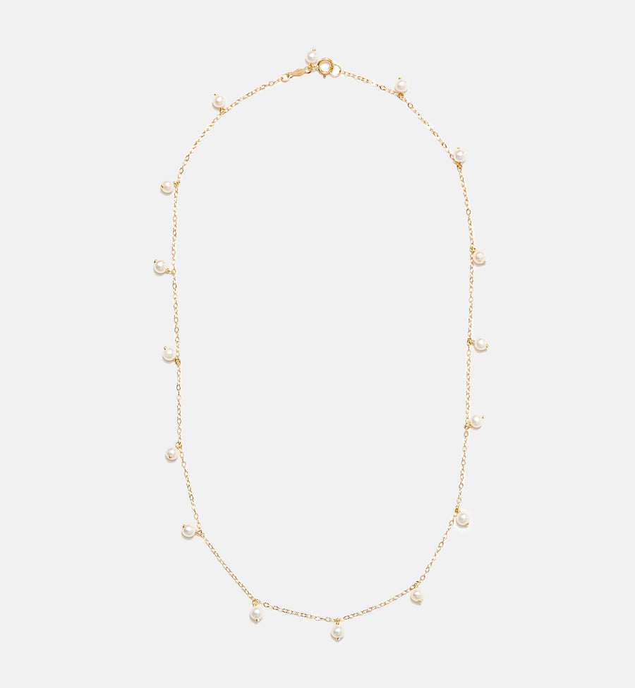 Cadine genuine pearl 14kt solid gold necklace