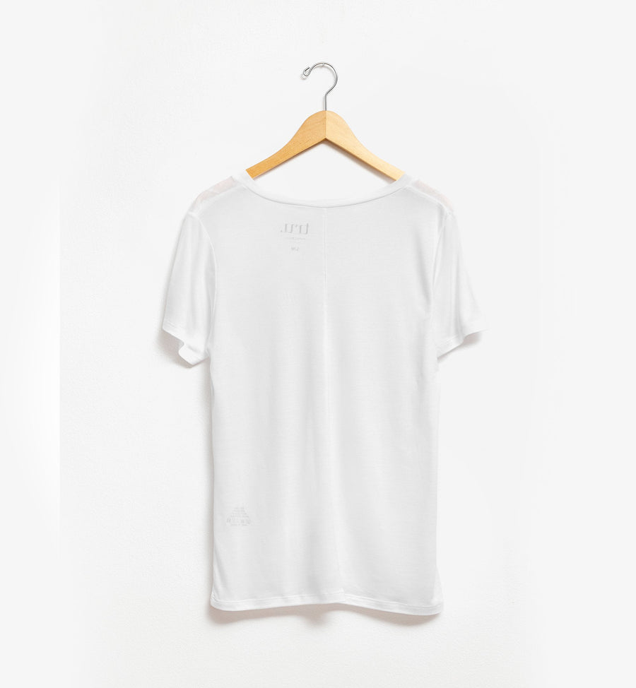 White Tencel Lyocell v-neck t-shirt