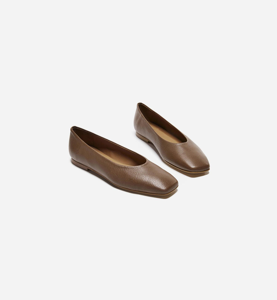 Nikki Flats - Brown Leather