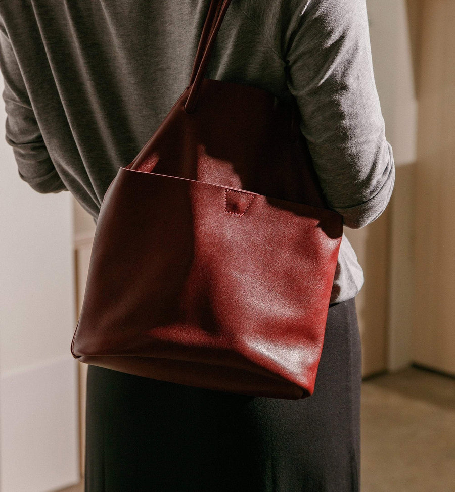 The Bucket Bag - Ruby Leather