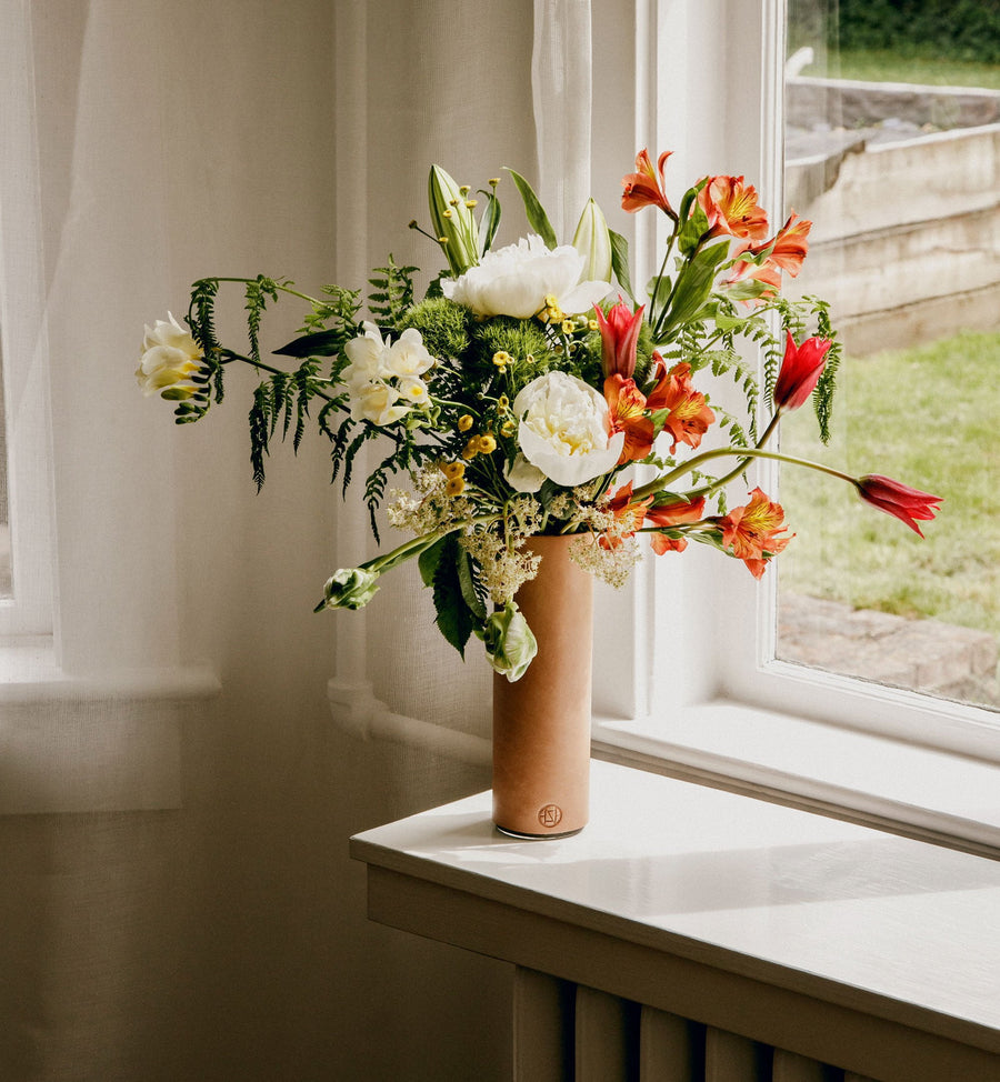 Fresh Floral in Leather Vase
