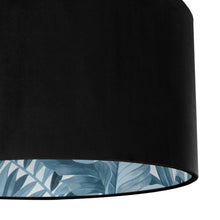 Load image into Gallery viewer, Jet black velvet with blue leaf lampshade