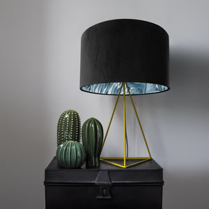 Jet black velvet with blue leaf lampshade
