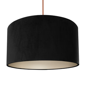 Jet black velvet with champagne liner lampshade