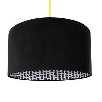 NEW! Jet black velvet with monochrome dot lampshade