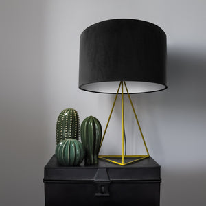 Jet black velvet with opaque white liner lampshade