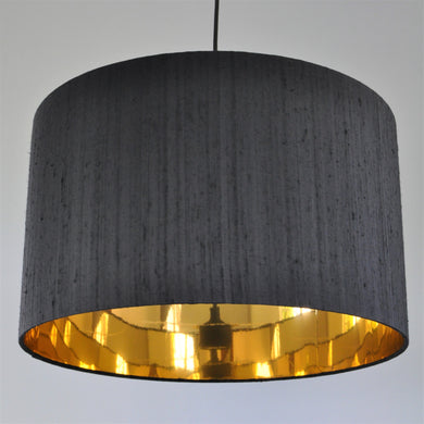 Jet black silk with mirror gold liner lampshade