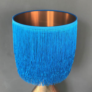 Blue tassel lampshade with mirror copper liner