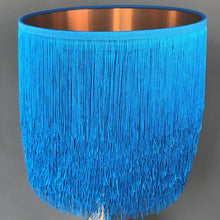Load image into Gallery viewer, Blue tassel lampshade with mirror copper liner