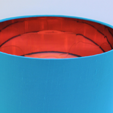 Load image into Gallery viewer, Bright blue silk lampshade with mirror copper liner
