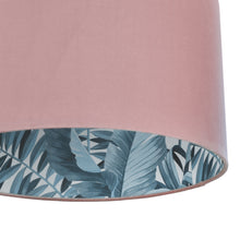Load image into Gallery viewer, Blush velvet with blue leaf lampshade