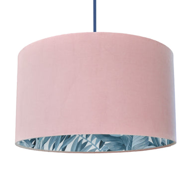 Blush velvet with blue leaf lampshade