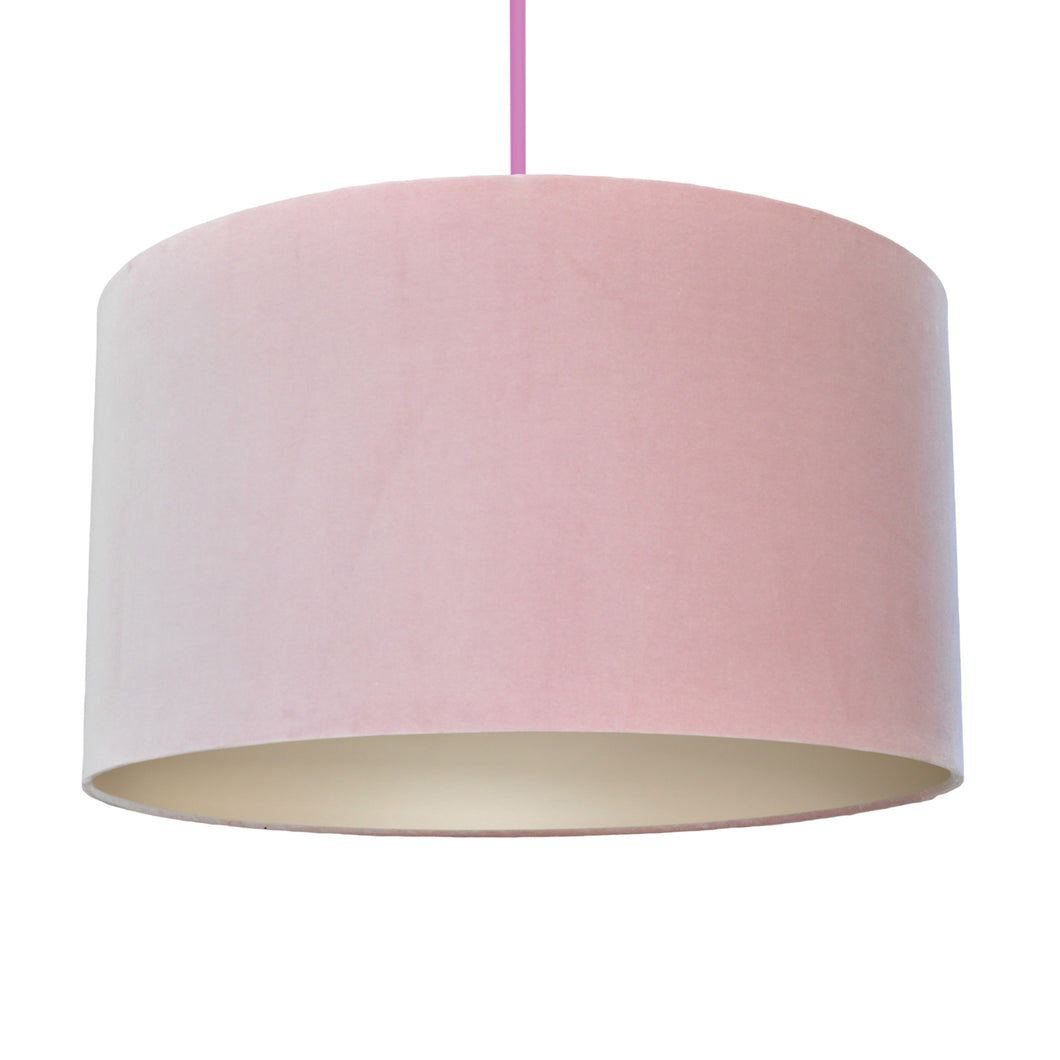 Blush pink velvet with champagne liner lampshade