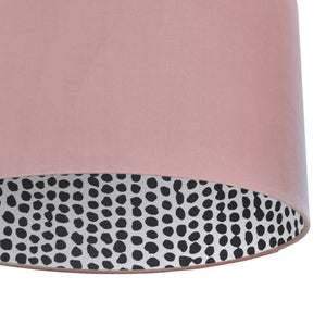 BEST SELLING: Blush velvet with monochrome dot lampshade