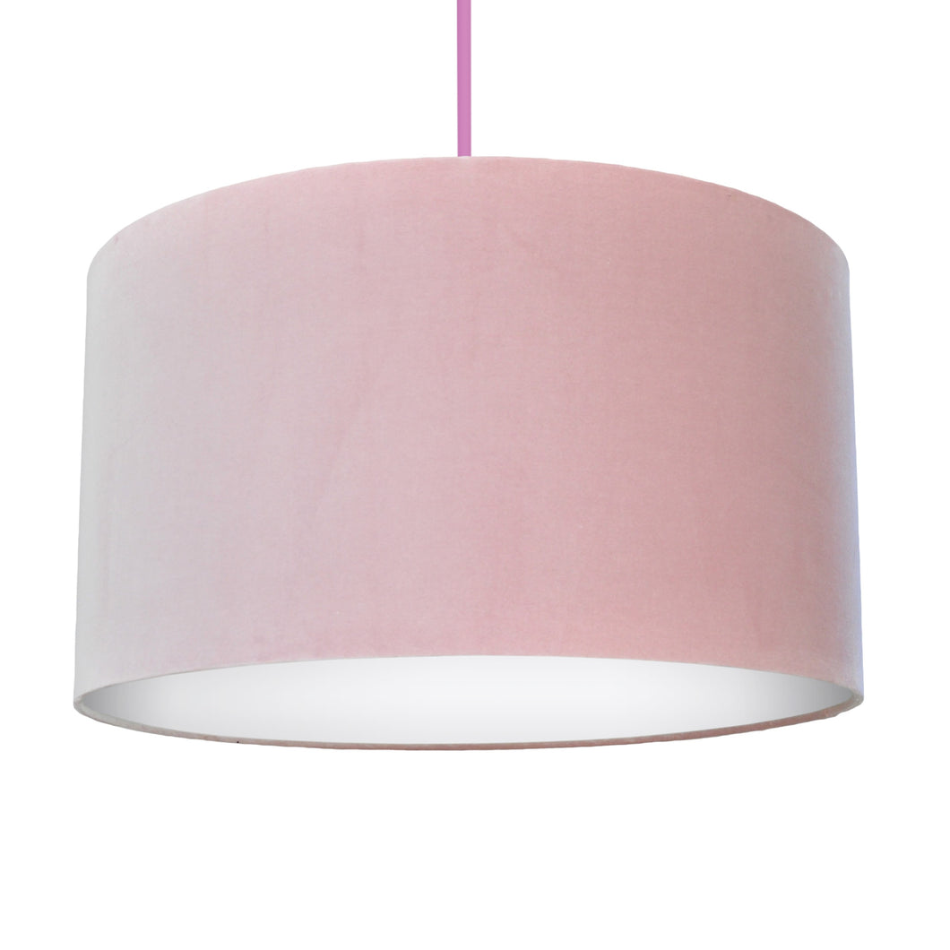 Blush pink velvet with opaque white liner lampshade