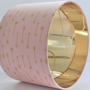 Blush arrow with mirror gold liner lampshade