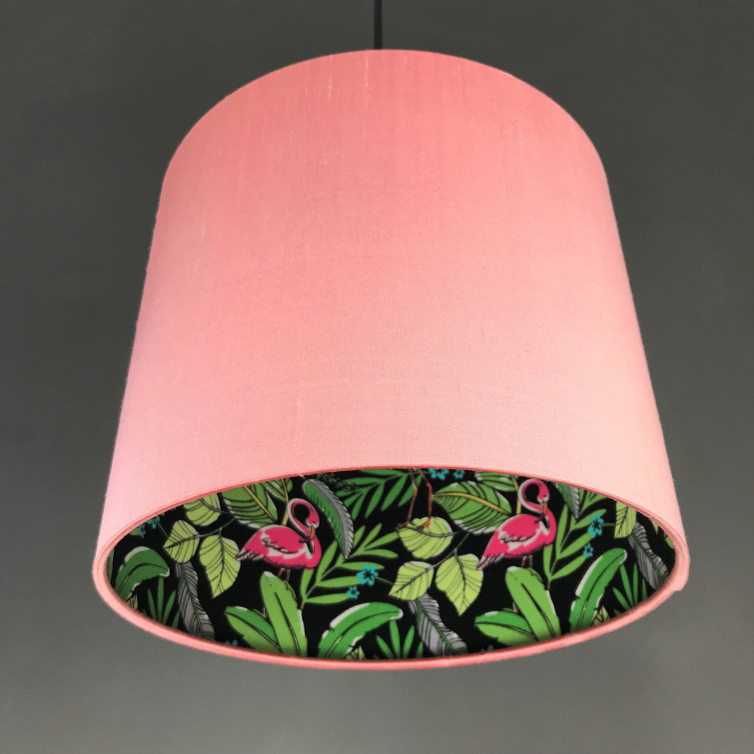Blush silk with flamingo and leaf lampshade
