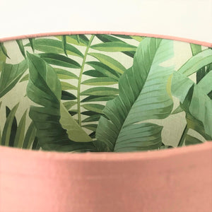 BEST SELLING: Blush silk with green leaf lampshade