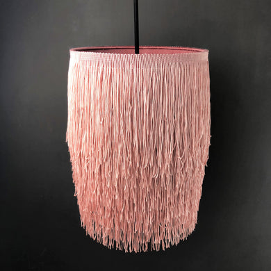 Blush pink tassel lampshade with metallic liner