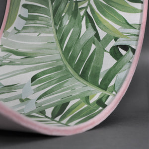 Blush velvet with green leaf lampshade