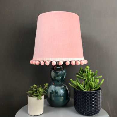 Blush pink velvet with mirror copper french drum lampshade