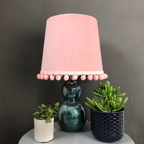NEW! Blush pink velvet with mirror copper french drum lampshade