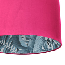 Load image into Gallery viewer, Hot pink velvet with blue leaf lampshade