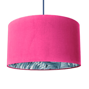 New! Hot pink velvet with blue leaf lampshade