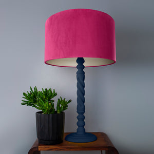 Hot pink velvet with champagne liner lampshade