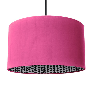 Hot pink velvet with monochrome dot lampshade