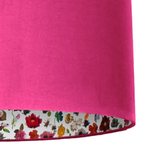 Load image into Gallery viewer, NEW: Liberty of London Floral Edit with hot pink velvet lampshade