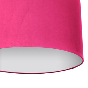 Hot pink velvet with opaque white liner lampshade