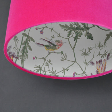 Cerise pink velvet with Cole & Son 'Hummingbird' wallpaper lampshade