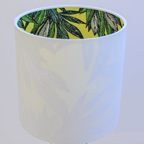 Crisp white cotton with citrus leaf lampshade
