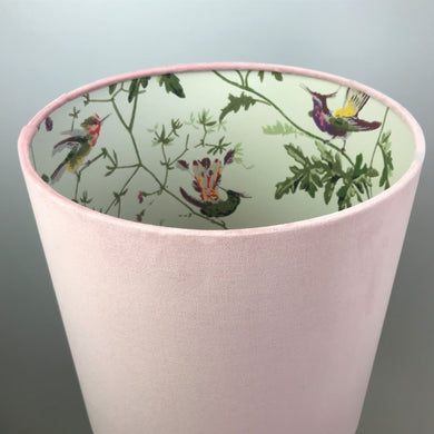 Blush velvet with Cole & Son 'Hummingbird' wallpaper lampshade