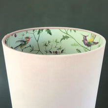 Load image into Gallery viewer, NEW: Blush velvet with Cole & Son 'Hummingbird' wallpaper lampshade