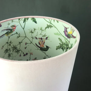 NEW: Blush velvet with Cole & Son 'Hummingbird' wallpaper lampshade