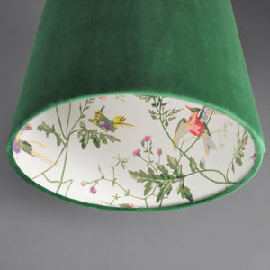 Forest green velvet with Cole & Son 'Hummingbird' wallpaper lampshade