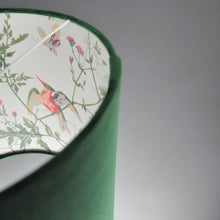 Load image into Gallery viewer, Forest green velvet with Cole & Son 'Hummingbird' wallpaper lampshade