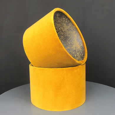 Mustard velvet with Cole & Son 'Salvage' wallpaper lampshade