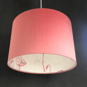 Blush silk with Cole & Son 'Flamingo' wallpaper lampshade