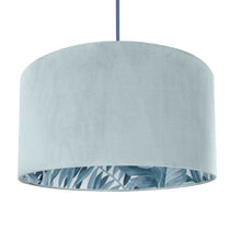 Load image into Gallery viewer, NEW! Duck egg blue velvet with blue leaf lampshade