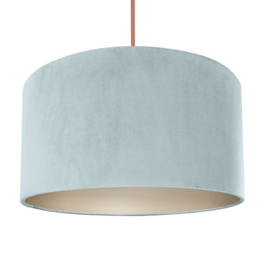 NEW! Duck egg blue velvet with champagne liner lampshade