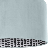 Load image into Gallery viewer, NEW! Duck egg blue velvet with monochrome dot lampshade