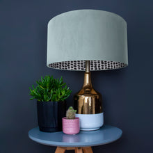 Load image into Gallery viewer, RESERVED FOR MELISSA: Duck egg blue velvet with monochrome dot lampshade and grey pompom trim