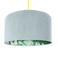 Load image into Gallery viewer, NEW: Palm leaf with duck egg velvet lampshade